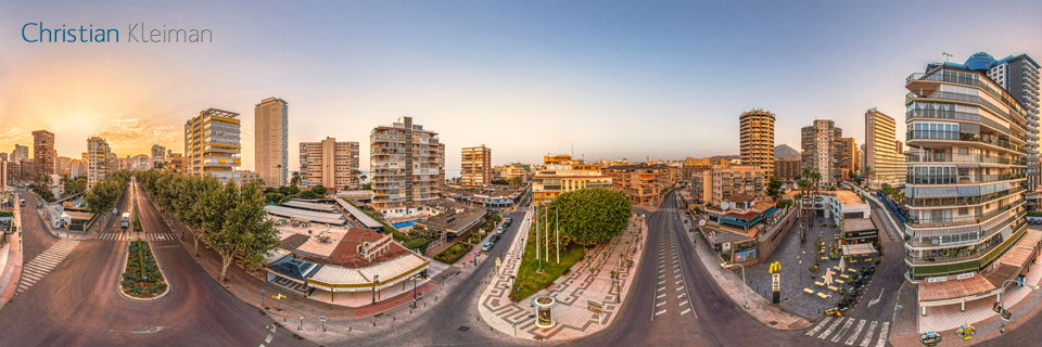 Plaza de La Hispanidad, Benidorm - Vista Aérea - Foto Pano 360 VR