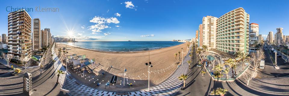 Vista aérea Playa de Levante Benidorm, Costa Blanca - Foto Pano 360 VR