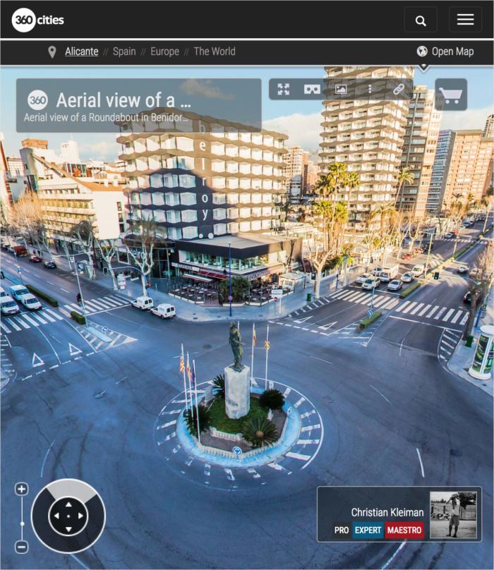Roundabout Avenida Mediterráneo in Benidorm - 360 VR Pano Photo