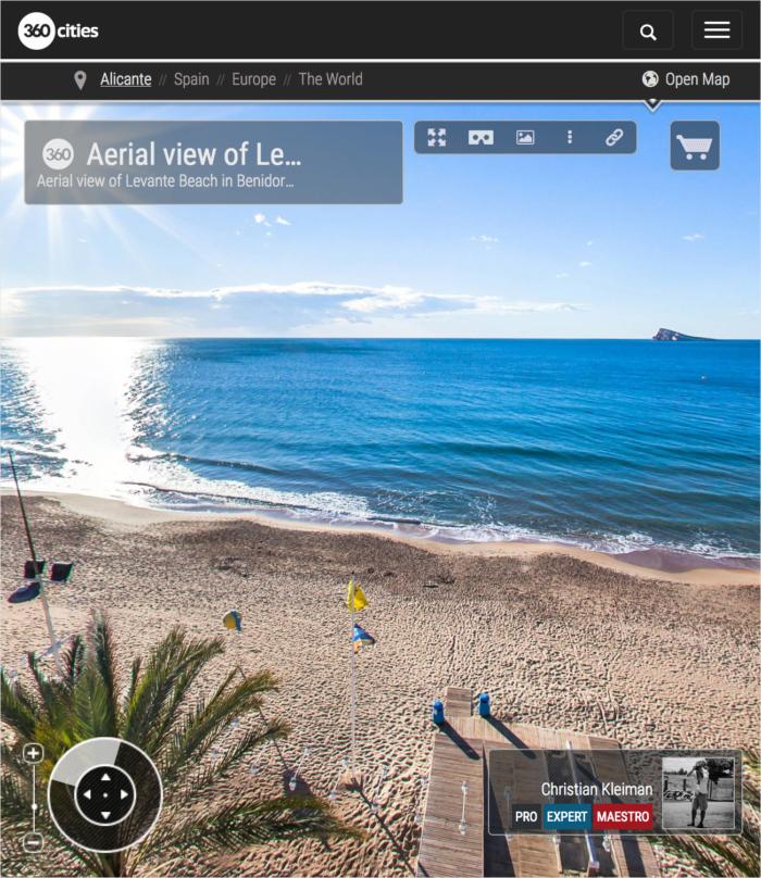 Levante Beach in Benidorm Aerial View - Spain - 360 VR Pano Photo