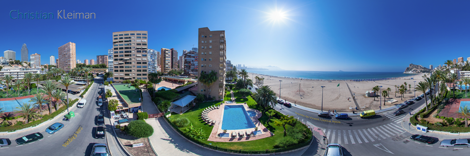 Poniente Beach Aerial View in Benidorm - Spain - 360 VR Pano Photo