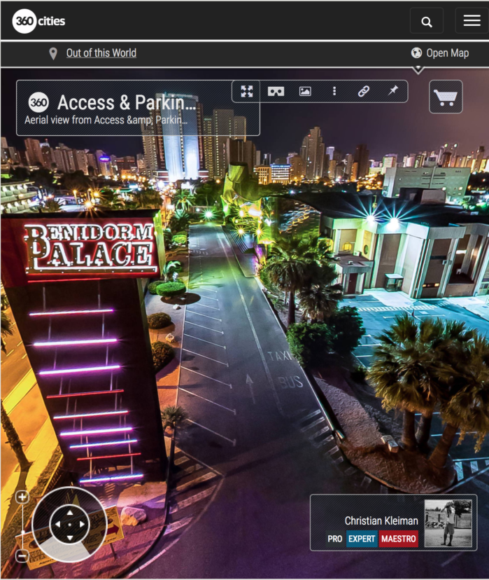 Aerial View Benidorm Palace by Night - Music Hall - 360 VR Pano Photo